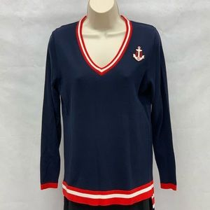 Crown & Ivy nautical navy and red striped sweater
